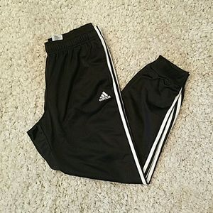 NWT ADIDAS Black/White Tricot Cuffed Pants Jogger